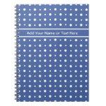 Spiral Notebook, Dark Blue with White Polka Dots