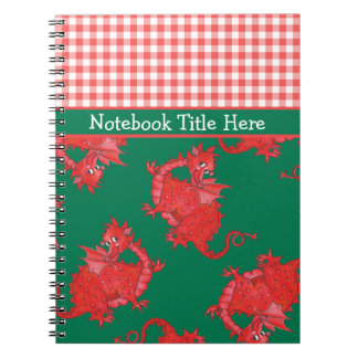 Spiral Notebook to Personalize: Cute Red Dragons