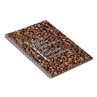 Spiral Notepad COFFEE Christ Offers Forgiveness Notebook
