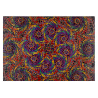 Spiral Octopus Psychedelic Rainbow Fractal Art Cutting Board