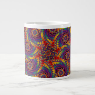 Spiral Octopus Psychedelic Rainbow Fractal Art Large Coffee Mug