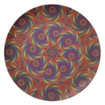 Spiral Octopus Psychedelic Rainbow Fractal Art Melamine Plate