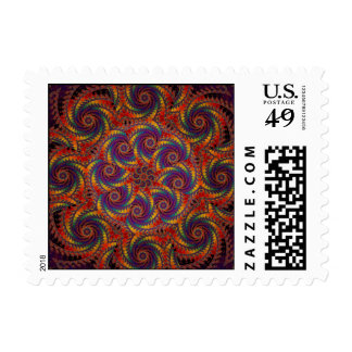 Spiral Octopus Psychedelic Rainbow Fractal Art Postage Stamp