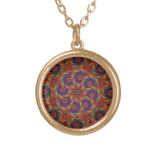 Spiral Octopus Psychedelic Rainbow Fractal Art Round Pendant Necklace