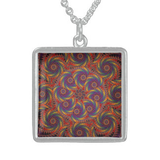 Spiral Octopus Psychedelic Rainbow Fractal Art Square Pendant Necklace