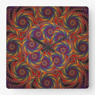 Spiral Octopus Psychedelic Rainbow Fractal Art Square Wall Clock
