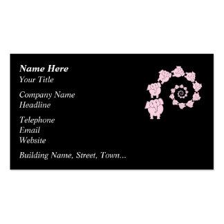 Spiral of Pink Elephants. Cartoon. Business Card