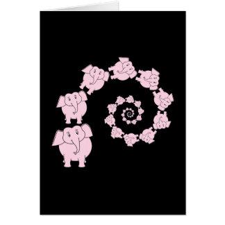 Spiral of Pink Elephants. Cartoon. Card