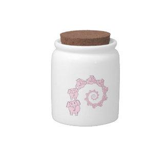 Spiral of Pink Elephants. Fun Cartoon. Candy Jar