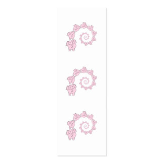 Spiral of Pink Elephants. Fun Cartoon. Mini Business Card