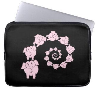 Spiral of Pink Elephants. Computer Sleeve