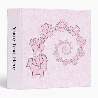 Spiral of Pink Elephants. Pink Background. Binder