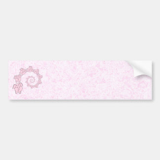 Spiral of Pink Elephants. Pink Background. Bumper Stickers