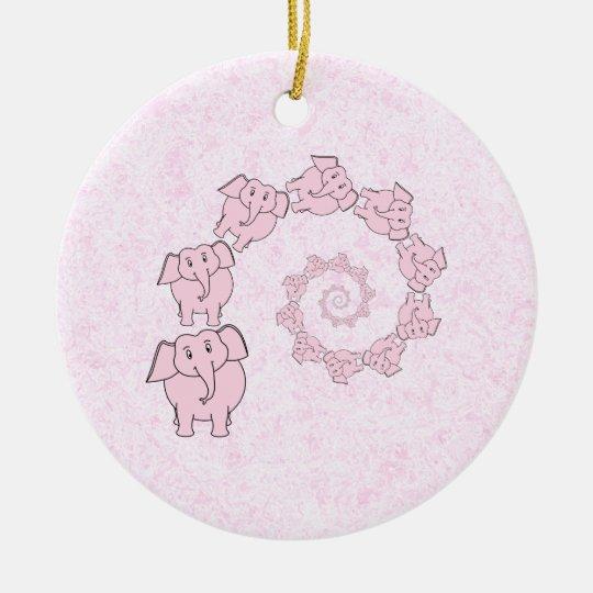 Spiral of Pink Elephants. Pink Background. Ceramic Ornament