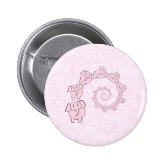 Spiral of Pink Elephants. Pink Background. Pinback Button