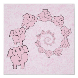 Spiral of Pink Elephants. Pink Background. Poster