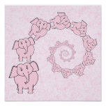 Spiral of Pink Elephants. Pink Background. Posters