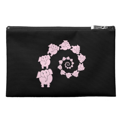 Spiral of Pink Elephants. Travel Accessories Bags