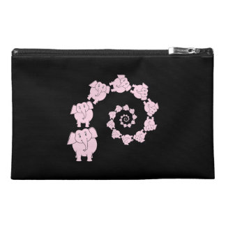 Spiral of Pink Elephants. Travel Accessory Bag