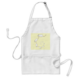 Spiral of White Mice. Cream Background. Adult Apron