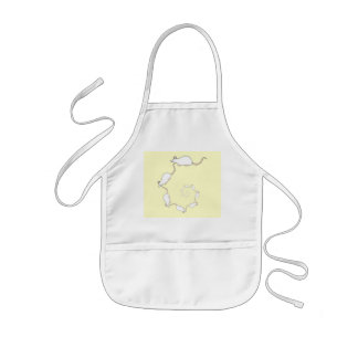 Spiral of White Mice. Cream Background. Kids' Apron