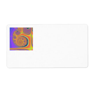 Spiral Orange Purple Fractal Label