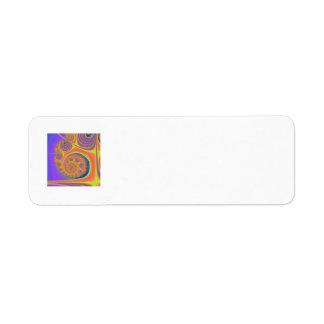 Spiral Orange Purple Fractal Return Address Label