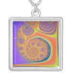 Spiral Orange Purple Fractal Pendants
