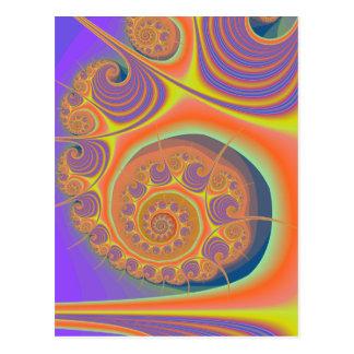 Spiral Orange Purple Fractal Postcard