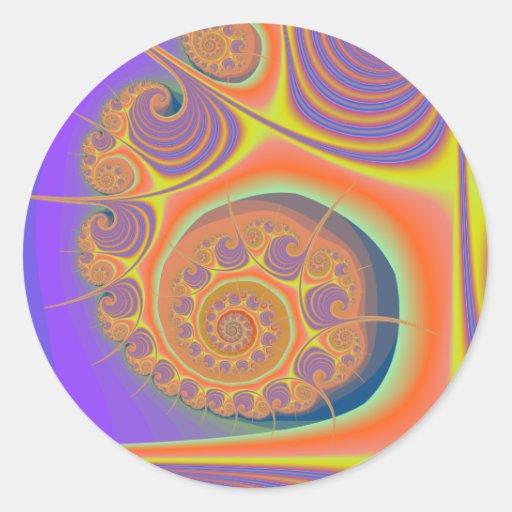 Spiral Orange Purple Fractal Round Stickers