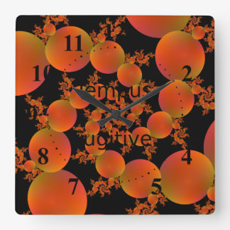 Spiral Oranges Square Wall Clock