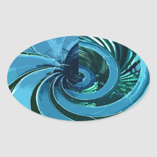 SPIRAL PALM (BLUE) OVAL STICKER