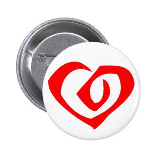 Spiral Pattern Red Heart 2 Inch Round Button