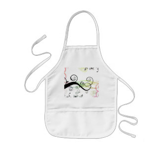 Spiral Pattern with Leaves and Circles Kids' Apron