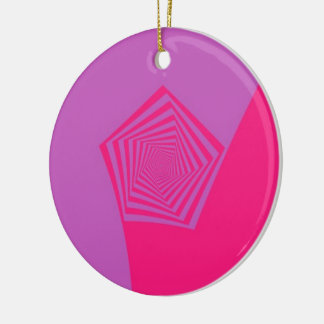 Spiral Pentagon in Pink Tones Ornament
