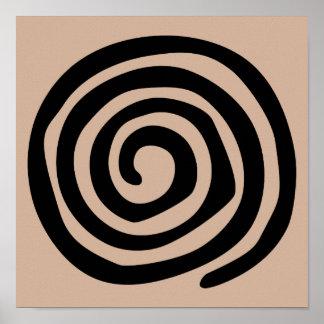 Spiral petroglyph tribal ancient folk art poster