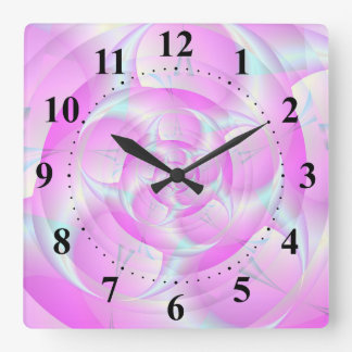 Spiral Pincers in Pink and Blue Square Wall Clock