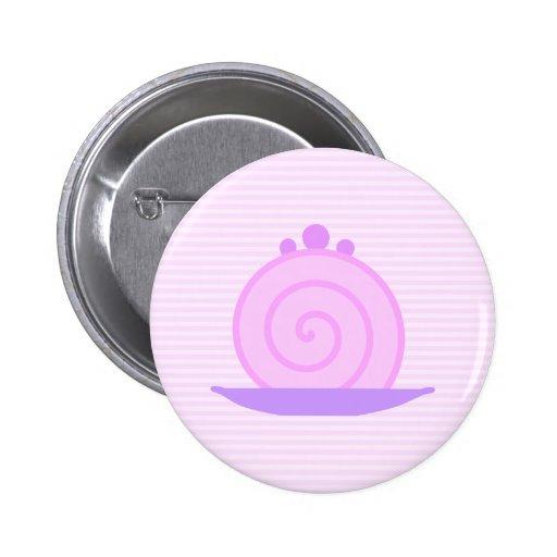 Spiral Pink Cake on Pink Stripes. 2 Inch Round Button