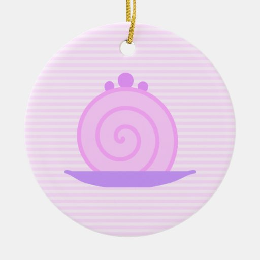 Spiral Pink Cake on Pink Stripes. Christmas Tree Ornaments