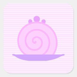 Spiral Pink Cake on Pink Stripes. Square Sticker