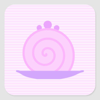 Spiral Pink Cake on Pink Stripes. Square Sticker