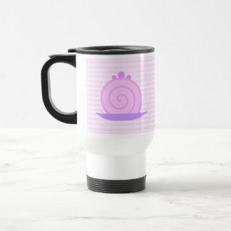 Spiral Pink Cake on Pink Stripes. Travel Mug