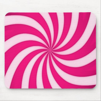 Spiral Pink Candy Cane Stripes Pattern Mouse Pad