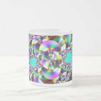 Spiral Rainbow Fractal 10 Oz Frosted Glass Coffee Mug