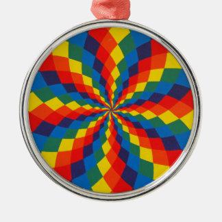 Spiral Rainbow Round Metal Christmas Ornament