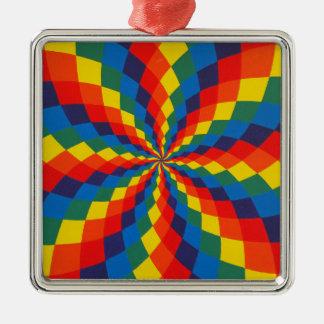 Spiral Rainbow Square Metal Christmas Ornament