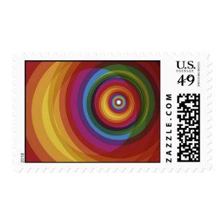 Spiral Rainbow Vector Background Postage