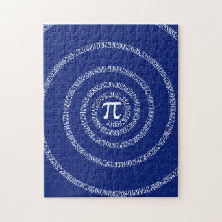 Spiral Rings for Pi on Navy Blue Jigsaw Puzzle