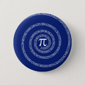Spiral Rings for Pi on Navy Blue Pinback Button
