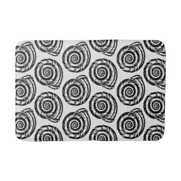 Beach Themed Spiral Seashell Block Print, Black and White Bathroom Mat